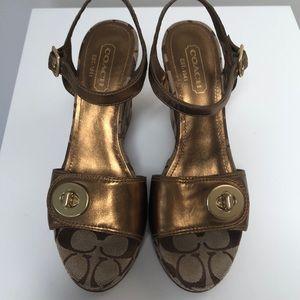 Coach signature C bronze wedge shoes 7 1/2